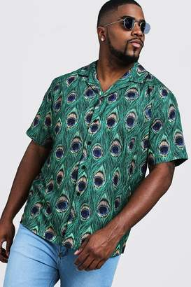 Big & Tall Peacock Print Revere Collar Shirt