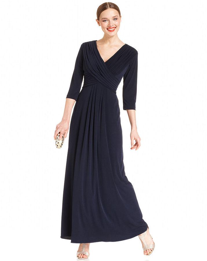 Patra Dress, Three-Quarter-Sleeve Pleated Gown