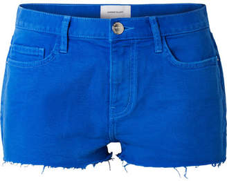 Current/Elliott The Boyfriend Frayed Denim Shorts - Bright blue