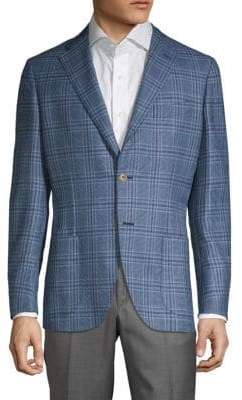 Luciano Barbera Textured Plaid Wool Jacket