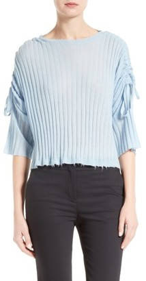 Women's Helmut Lang Frayed Cashmere Top $380 thestylecure.com