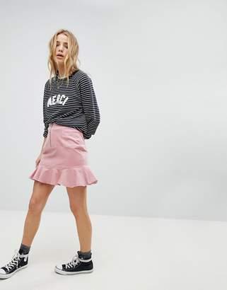 Glamorous Mini Skirt With Pephem In Corduroy