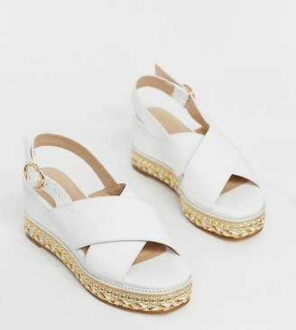 Simply Be Wide Fit Simply Be wide foot flatform espadrille sandals with cross front in white