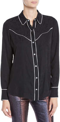 Veronica Beard Mayben Jacquard Silk Button-Down Shirt