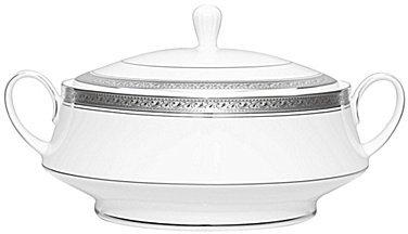 NoritakeNoritake Crestwood Etched Platinum Porcelain Covered Vegetable Bowl