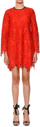 MSGM Long-Sleeve Lace Cocktail Dress