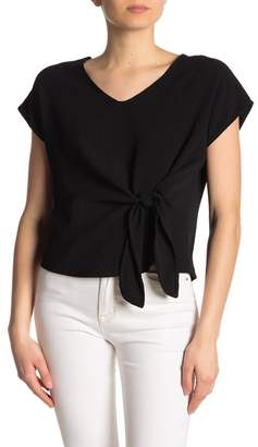 Lush V-Neck Front Knot Tie Short Sleeve Blouse