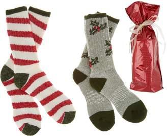 Catawba Sox Catawba Set of 2 Merino Wool Blend Holiday Socks with Gift Bag