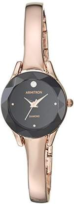 Armitron Women's 75/5327BKRG Diamond-Accented -Tone Bangle Watch