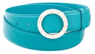 Bvlgari Grain Leather Belt turquoise Grain Leather Belt