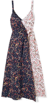 Rosie Assoulin That's A Wrap! Marbled Cotton-blend Poplin Wrap Dress - Navy