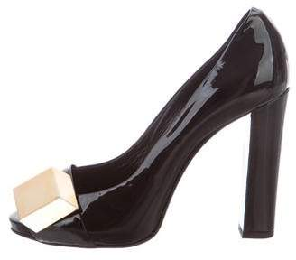 Pierre Hardy Patent Leather Peep-Toe Pumps