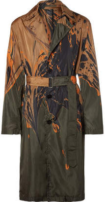 Dries Van Noten Ebru Oversized Marble-Print Shell Coat