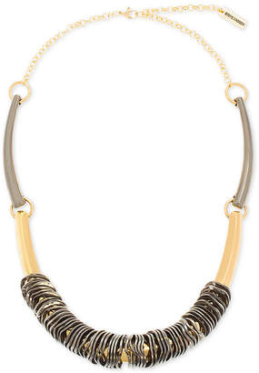 """Steve Madden Two-Tone Wavy Rings & Curved Bar Necklace, 20"""" + 4"""" extender"""
