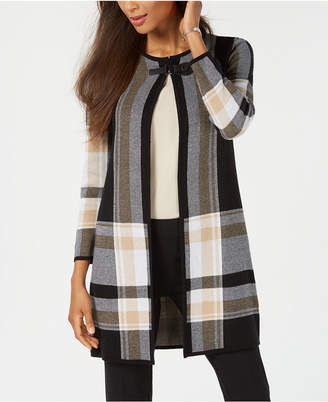 Kasper Plaid Sweater Topper Jacket