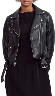 Maje Boilt Belted Leather Moto Jacket