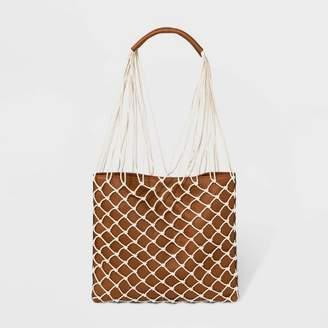 Universal Thread Net Tote Handbag With Pouch Cognac