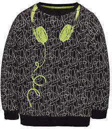 Headphones Printed Sweat in Black Size 15-16 Years