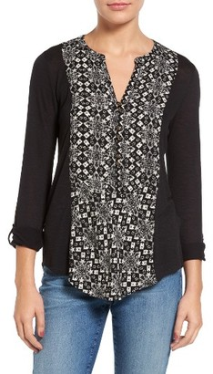 Women's Lucky Brand Print Henley Top $49.50 thestylecure.com