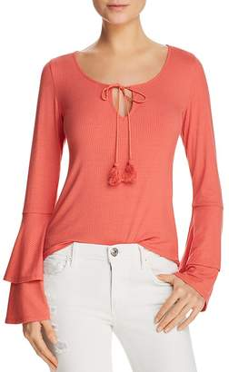 Band of Gypsies Ribbed Bell-Sleeve Top