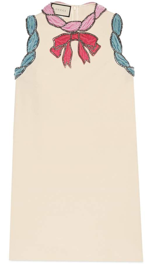 Stretch viscose dress with velvet trim