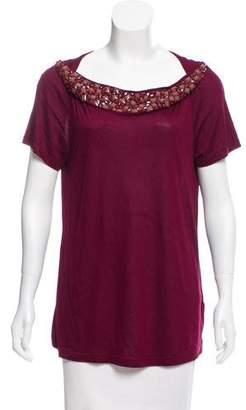 Burberry Embellished Short Sleeve Top w/ Tags