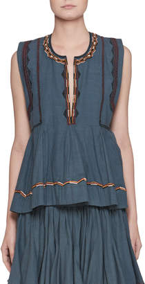 Etoile Isabel Marant Barney Split-Neck Sleeveless Chambray Blouse with Embroidery