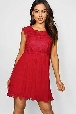 boohoo NEW Womens Boutique Corded Lace Pleated Skater Dress in Polyester