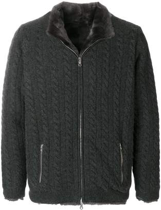 N.Peal lined cable cashmere cardigan
