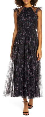 Jill Stuart Printed Tulle Ruffle Gown