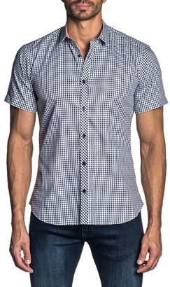 Jared Lang Men's Short-Sleeve Gingham Check Sport Shirt