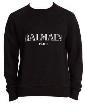 Balmain Men's Paris Sweatshirt - Black White - Size Large