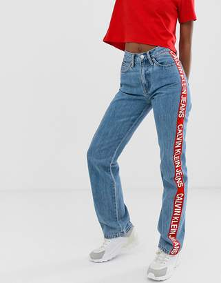 Calvin Klein Jeans high straight leg jean with logo taping