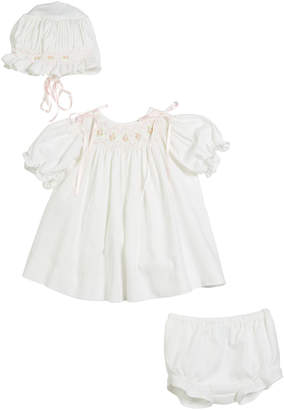 Luli & Me Three-Piece Button-Down Floral Bishop Dress, Size 3-12 Months