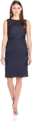 Gabby Skye Women's Sleeveless Round Neck Midi Scuba Sheath Dress