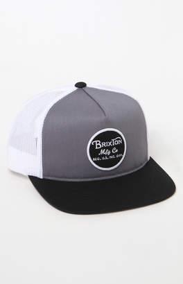 Brixton Wheeler Gray & White Snapback Trucker Hat