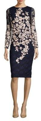 Xscape Evenings Embroidered Floral Long Sleeved Dress