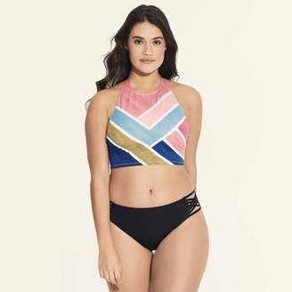 Beach Betty by Miracle Brands Women's Slimming Control High Neck Lace-Up Bikini Top - Beach Betty by Miracle Brands Stripe