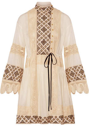 Tory Burch - Carlotta Lace-trimmed Embroidered Cotton-voile Mini Dress - Off-white $495 thestylecure.com