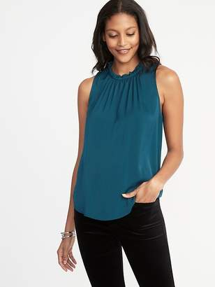 Old Navy Relaxed Sleeveless Ruffle-Trim Satin Top for Women