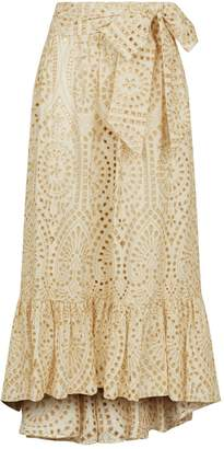 Lisa Marie Fernandez Ruffle Trim Eyelet Skirt