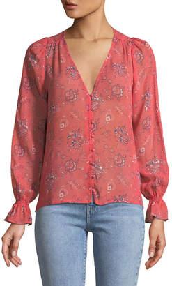 Joie Bolona B Long-Sleeve Silk Button-Front Top