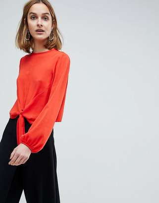 Asos Design Woven Top with Knot Front