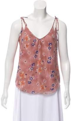Rebecca Taylor Silk Floral Print Sleeveless Top