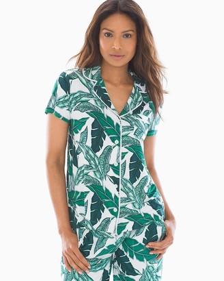 Cool Nights Short Sleeve Grosgrain Trim Notch Collar Pajama Top Palm Fronds White