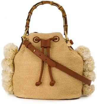 Twin-Set straw bucket bag with bamboo handle