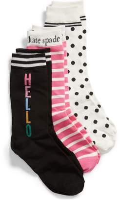 Kate Spade Hello 3-Pack Crew Sock Gift Set