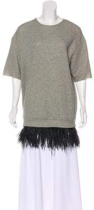 Jay Ahr Feather-Trimmed Short Sleeve Top