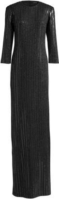 St. John Metallic Pinstripe Knit Gown