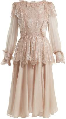 Maria Lucia Hohan Fleur lace-trimmed silk-mousseline dress